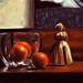 Still life with oranges on desk