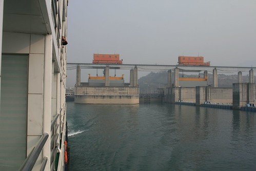 Sailing out of the shiplocks