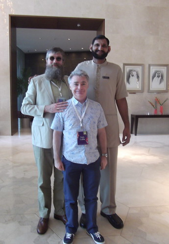 Philip Ardagh, Eoin Colfer and 'friend' in Dubai. Photo © Philip Ardagh
