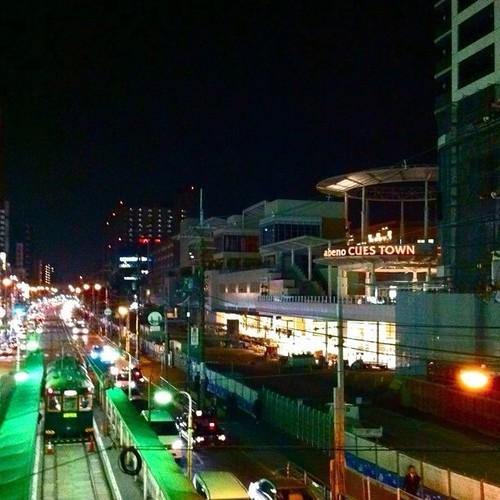 夜~♪ 歩道橋から見たキューズタウンだよ~! みんなー、おやすみ! #Osaka #Abeno