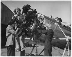 Women working on a plane in the Army Air Corps