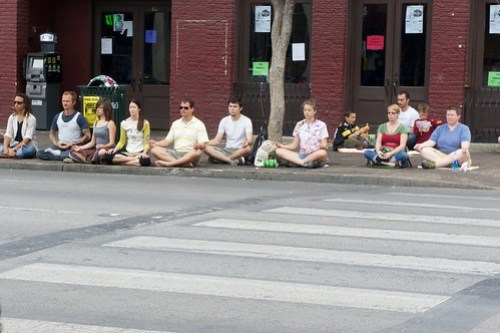 Meditating on 6th street