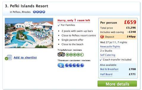 Travel - Thomson prices