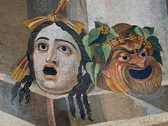 Mosaic depicting theater masks Roman 2nd century CE