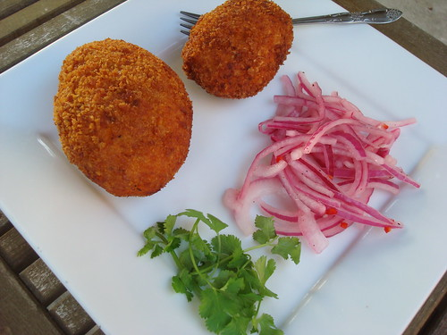 Papas Rellenas and Salsa Criolla
