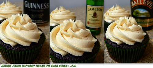 Chocolate Guinness and whiskey cupcakes with baileys frosting!