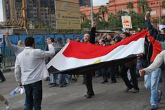 Egypt Protesters Flag Street Tahrir Square