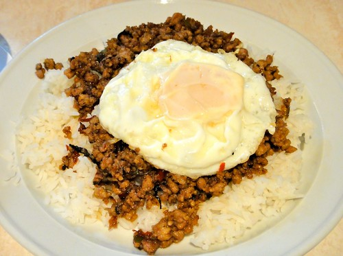 Pad Grapow on Rice with Fried Egg