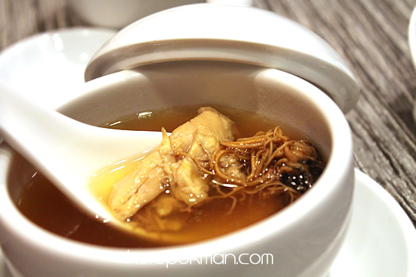 Double-boiled Guinea Fowl Soup with Cordyceps Flowers