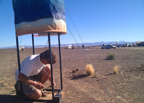 David Carman installing Mesh Potato phone booth
