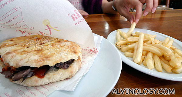 Beef Doner Kebab sandwich - we ordered a set, hence it came with fries and a drink