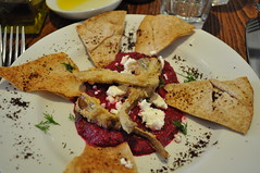 Starter: Beetroot borani with feta and fried artichokes