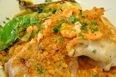 Mains detail: Chicken and prawn romesco with almonds and hispi cabbage