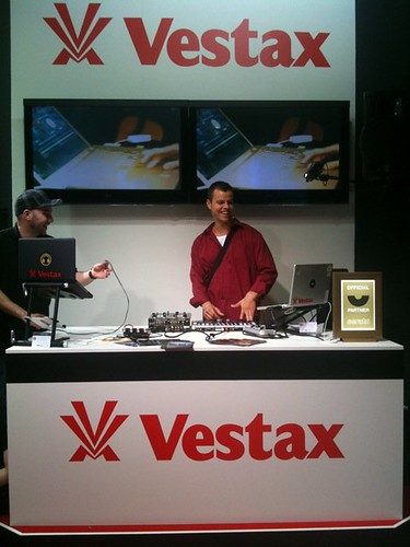 Mr. E djing at the Vestax stand