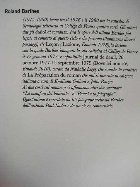 Roland Barthes, La preparazione del romanzo; corsi (I e II) e seminari al Collège de France, Mimesis 2010: 2 voll.; Cover design Mimesis Communication; risvolto della q. di cop., vol I [identico nel vol. II) (part.), 1
