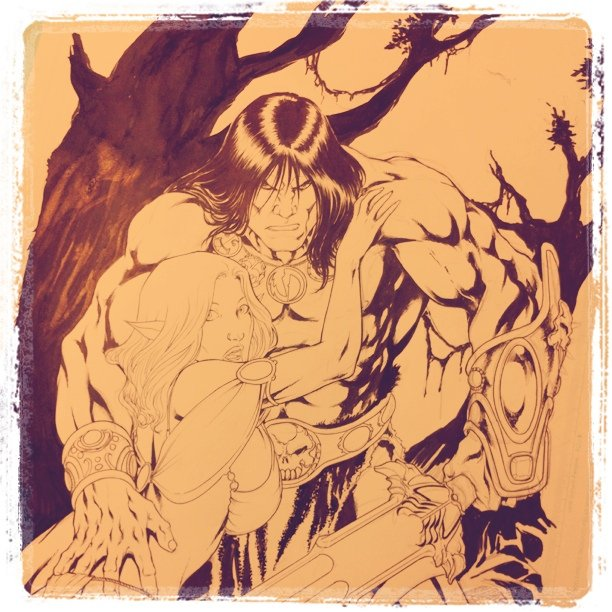 Working on the Conan illustrion- background