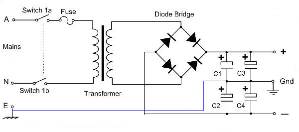 Dual polarity power supply with a single secondary