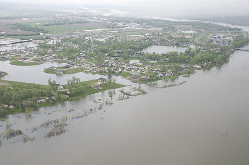 The Missouri River is spreading out all over low-lying parts of Bismarck, N.D., this summer.