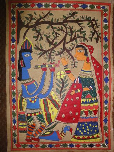 Radha-Krishna Madhubani Painting by Shreeya Sharma