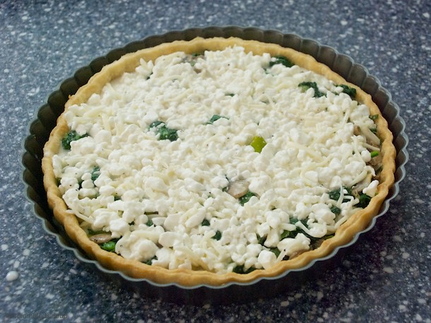 Prebaked Spinach, Mushroom and Cottage Cheese Quiche