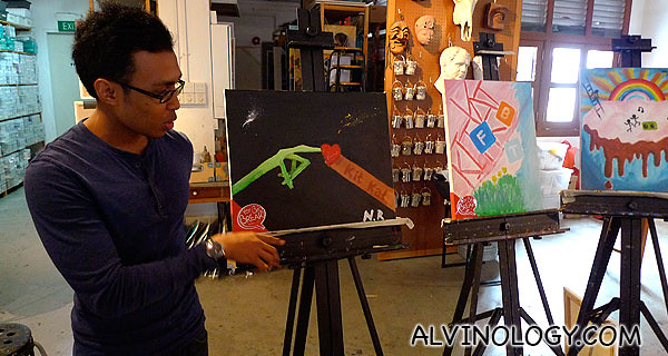 Nabil on his ET hand painting