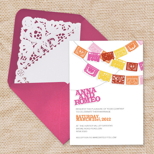pink yellow orange wedding invitation