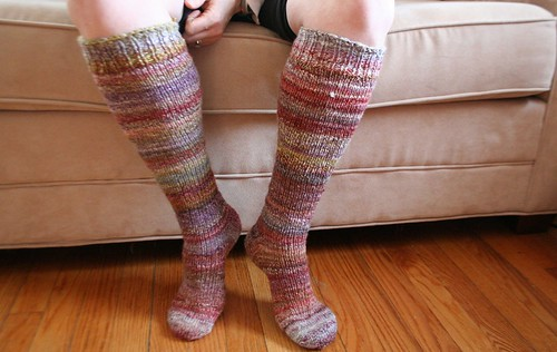 knitted :: handspun toe-up knee-high arch-shaped socks