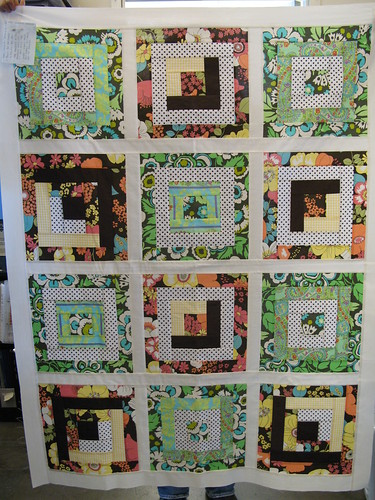 Jodi's Quilt top with Log Cabin Blocks
