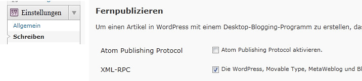 wordpress.com | XML-RPC aktivieren