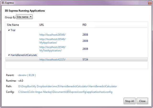 6 IIS Express Running Applications