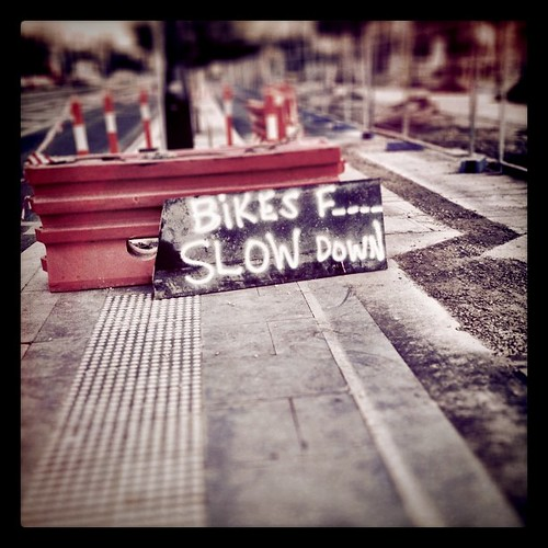 Docklands workmen don't like fast bikes.