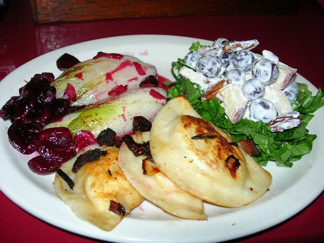 Cider-Braised Endive, Pierogies and Waldorf Salad
