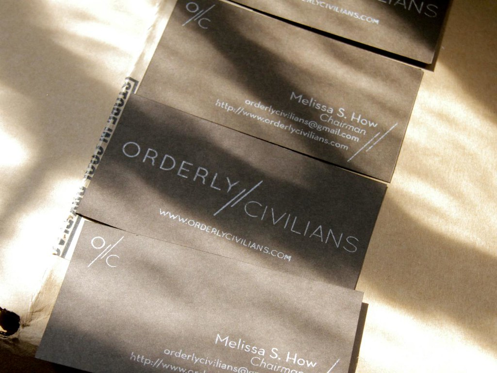 New Orderly Civilians business cards on chocolate cardstock