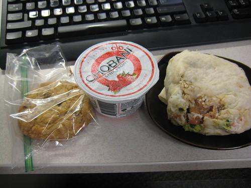 cookie, chobani, burrito