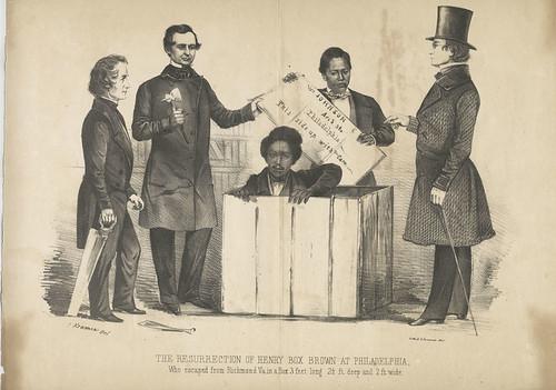 "The Resurrection of Henry ""Box"" Brown at Philadelphia; L. Rosenthal; lithograph print; circa 1854"