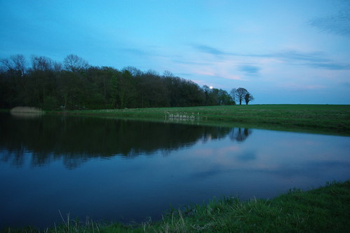 20100427-15_Moon-rise_Potford's Dam Pool + Cawston Woods by gary.hadden