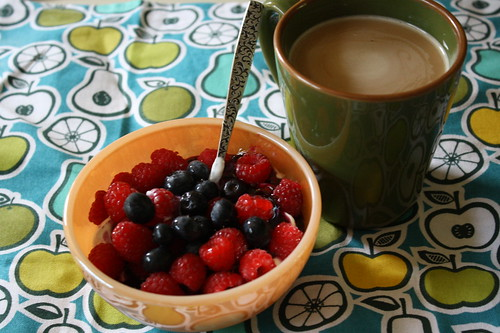 Chobani, berries, coffee