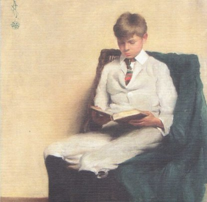 11f26 Portrait of a Boy Reading Edmund D Tarbell 1913 baja