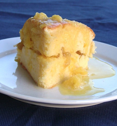 cake with pinepple jam and pinapple sauce