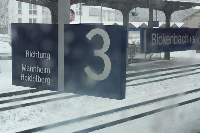 DeutscheBahn RB train snow Bickenbach Germany