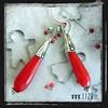 LNREDJ orecchini argentati giada rossa red jade silver earrings 1129