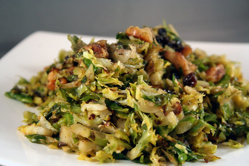 Sautéed Brussel Sprouts with Toasted Walnuts and Cranberries