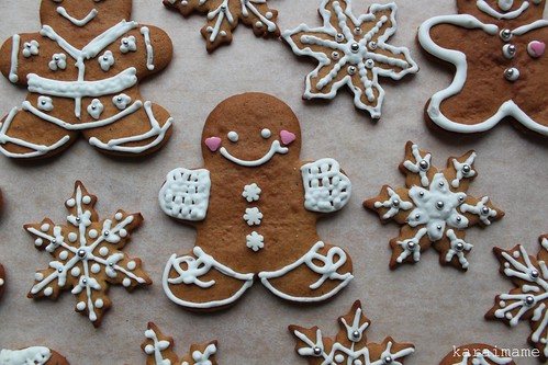 Gingerbread man and snowflakes