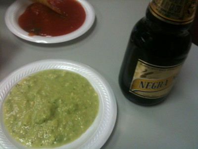 guac, beer, and salsa