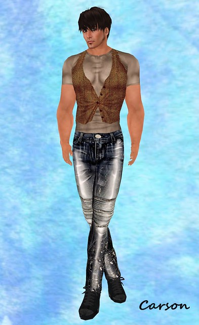GizzA Grunge Jeans, Biege Short & Brown Vest