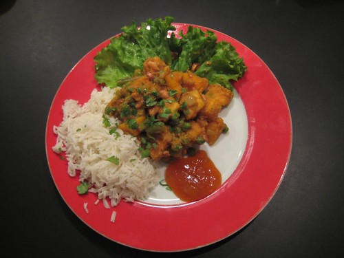 Vegan pumpkin curry with basmati rice and mango chutney