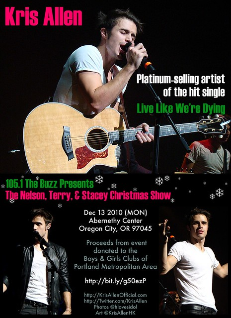Kris Allen Promo Art - Dec 13 at 105.1 The Buzz's Nelson, Terry & Stacey Christmas Show in Oregon City, OR