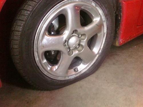 Flat tire. Waah waah.