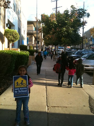 Isabelle walks to Rosemont Elementary in Echo Park with her Uncle Junue. Thanks Junue for this great picture!