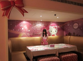 Hello Kitty preparing the table